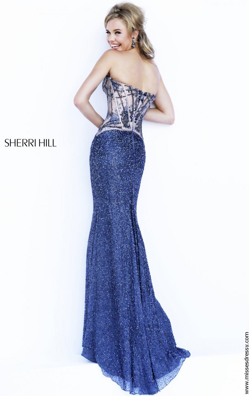 Sherri Hill 11244 gunmetal/nude