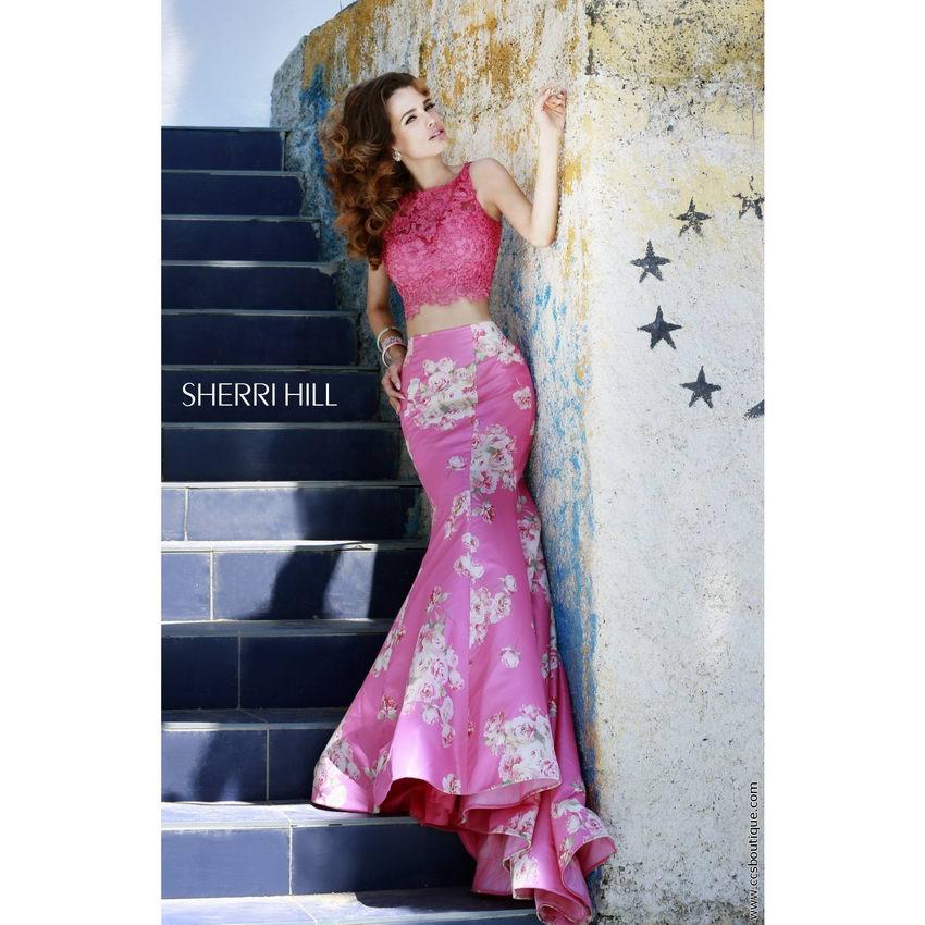 Sherri Hill 32073 pink print
