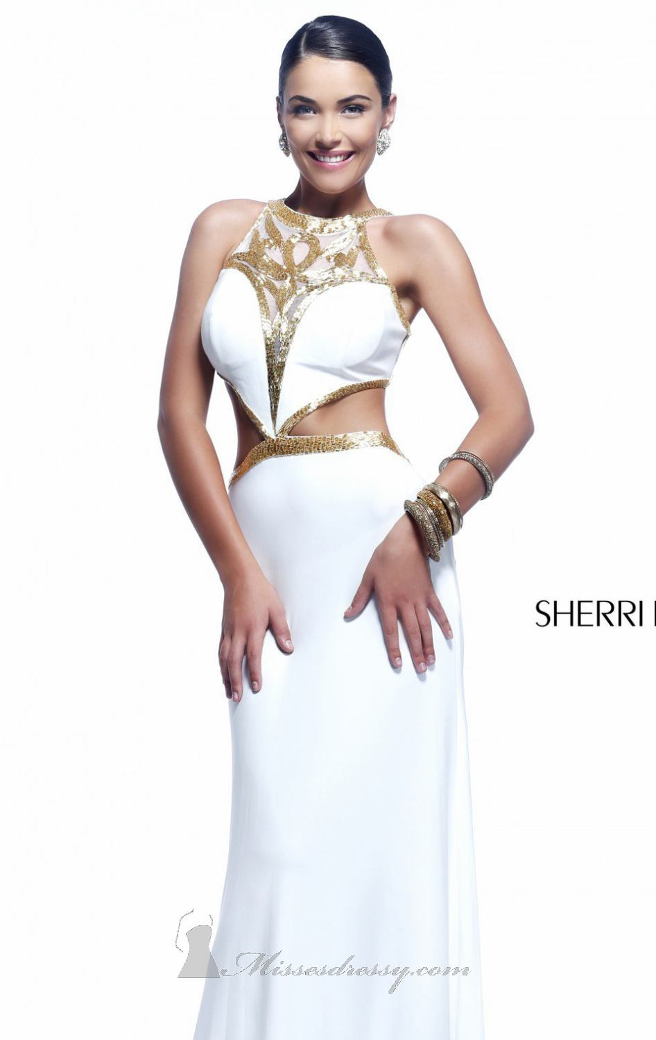 Sherri Hill 11124 ivory/gold